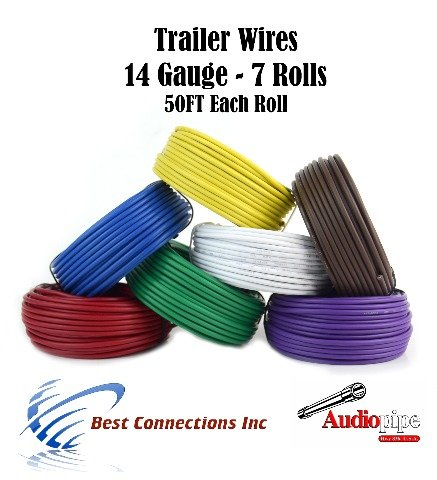 Light Cable Spools (Trailer Light Cable Wiring Harness 50ft spools 14 Gauge 7 Wire 7 colors)