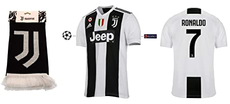 Juventus Turin Trikot Kinder 2018 2019 Home UCL Ronaldo 7 + Fanschal
