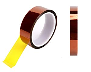 2 Rolls (10mmX 33m) 108ft High Temperature Heat Resistant Kapton Tape Polyimide Film Adhesive Tape for Sublimation for Heat Press No Residue