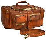 Vintage Genuine Leather Handmade Duffel Luggage Satchel Shoulder Travel Bag 24''