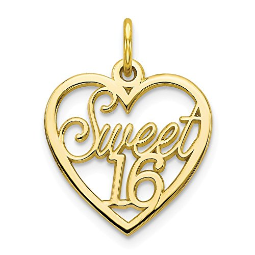 10k Yellow Gold Sweet 16 Heart Pendant Sixteenth Birthday Charm Love Fancy