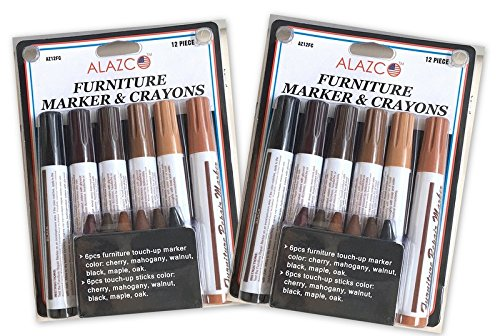 2 Packs (12pc each) ALAZCO Total Furniture Scratch Restore & Repair System & Touch-Up Kit - Each pack includes 6 Wax Stick Crayons & 6 Felt Tip Markers - Works on Leather too! ()