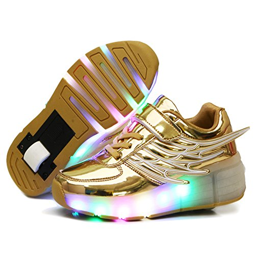 Light Up Single Wheel Skate shoes Fashion Roller Skate, Golden, 28 M EU/11.5 M US Little Kid ()