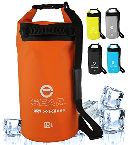 Enthusiast Gear Insulated Dry Bag Cooler | Waterproof Cooler for Kayaking, Hiking, Lunch, Fishing, and Beach - Leak Proof, Waterproof, Collapsible, with Padded Shoulder Strap (15L) - Orange