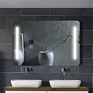 Decoraport Horizontal Led Wall Mounted Lighted Vanity Bathroom Silvered Mirror