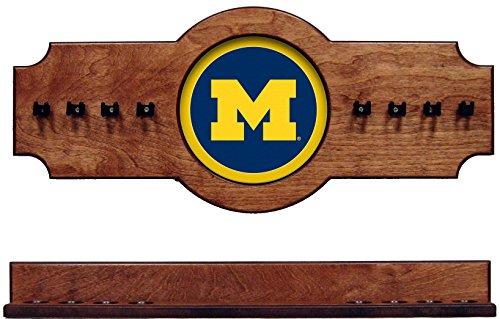 NCAA Michigan Wolverines UMICRR300-P 2 pc Hanging Wall Pool Cue Stick Holder Rack - Pecan by wave