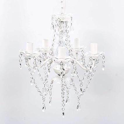 vidaXL Lámpara Colgante de Araña con Cristales Transparentes 5 Luces de Techo