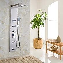 Senlesen Waterfall Rain Shower Head Shower Column Wall Mounted Massage Jet Tub Spout Shower Mixers Brushed Nickel