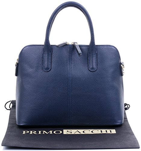 Protective Handbag Bag or Storage Grab Made Bag Primo Tote Shoulder Hand Bag Textured Blue Leather Branded Navy a Bowling Style Sacchi Italian Includes qwwUp7R8