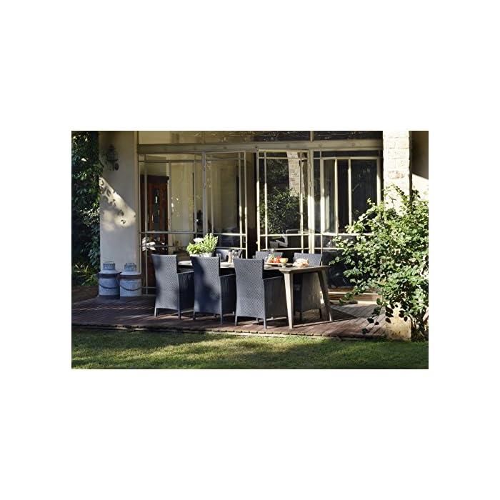 51Disoz3ohL Incluye un cojín en el asiento y respaldo ergonómico. Sillón para interior y exterior, ideal para jardines, terrazas, porches y otros espacios de entretenimiento. Acabado de ratán plano plano, duradero, resistente al clima y a la corrosión.