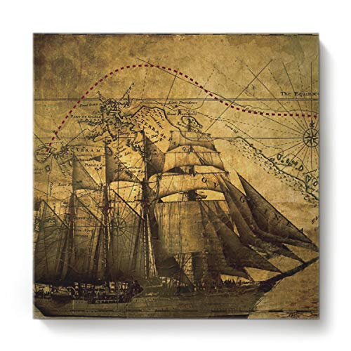 - Square Canvas Wall Art Oil Painting for Bedroom Living Room Home Decor,Vintage Map of The Nautical with Ship Pattern Office Artworks,Stretched by Wooden Frame,Ready to Hang,28 x 28 Inch
