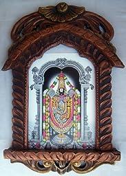 Lord Venkateswara Postar in Wood Craft Jharokha Photo Frame Art Craft Handicrafts