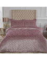 Sleepdown Geometrische Crushed Velvet Abstract Blush Roze Luxe Zacht Cosy Dekbedovertrek Quilt Beddengoed Set met Kussenslopen - Super King (260cm x 230cm)