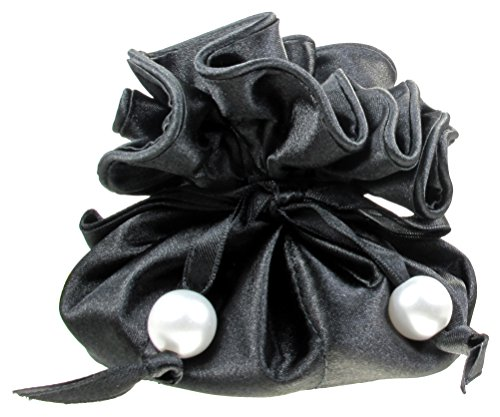 Satin Drawstring Jewelry Pouch, 16 Pockets, (Satin Ribbons Jewellery Pouch)