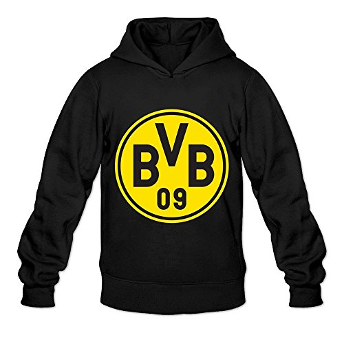WYBU Men's Borussia Dortmund Long Sleeve Hoodie Sweatshirt Size L Black,100% Organic Cotton
