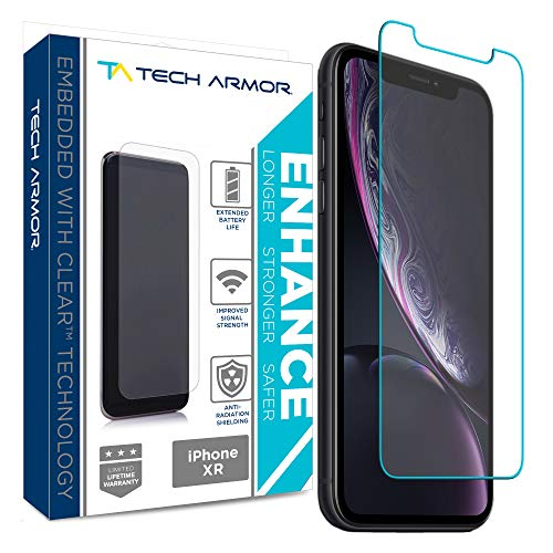Tech Armor Apple iPhone Xr Enhance Radiation Blocking Screen Protector [1-Pack] Case-Friendly Tempered Glass, Haptic Touch Accurate Designed for New 2018 Apple iPhone Xr