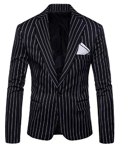 RDHOPE-Men Large Size Pinstripe Open Front Wedding Sport Coat Black M -
