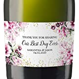 """""""Thank You"""" Mini Champagne Wine Bottle Custom Label Sticker for Wedding Gift, Engagement, Bridal Shower, Bachelorette Party, Elopement Invitation - Specialized Personalized Bespoke Set of 8"""