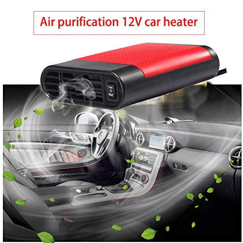 Heater Defroster - LTUPWF Portable Car Heater Fan Defroster with Air Purification 12V 150W Auto Car 30 Seconds Fast Heating Defrost Defogger Demister Vehicle Ceramic Heater Fan for Windshield (Red)