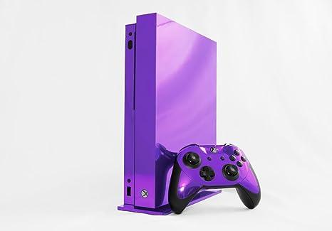 Amazon Com Microsoft Xbox One X Skin Xb1x New Purple Chrome Mirror System Skins Faceplate Decal Mod Video Games