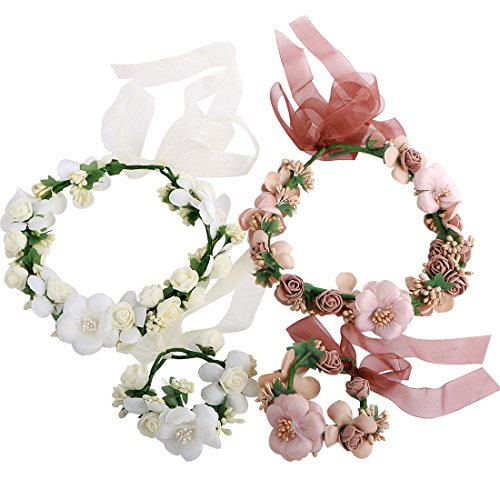 kilofly 2 Sets Flower Crown Wreath Headband Garland Floral Wrist Band Value Pack (Headpiece Set)
