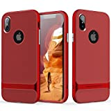 iPhone X/iPhone Xs Case, ROCK [Royce] - Red [Ultra Thin][Heavy Duty][Metal Texture Side Buttons][Dual Layered][Slim Fit][Hard PC + Soft TPU] for Apple iPhone X/iPhone Xs