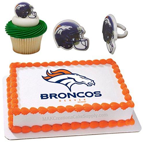 Denver Broncos Licensed Edible Wafer Cake Topper & Cupcake Ring (Denver Broncos Cake)