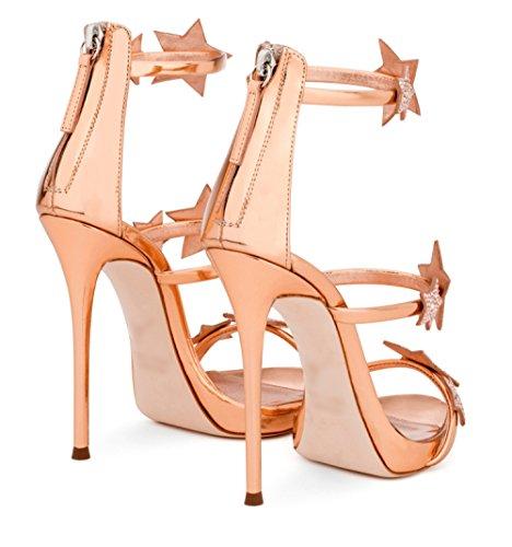 Femmes Étoiles Sandales Or Sandales Été Chaussures Mariage Chaussures Pompes À Boucle De Court Talons Hauts De Strass Noir Sexy Courroie SdfdWq