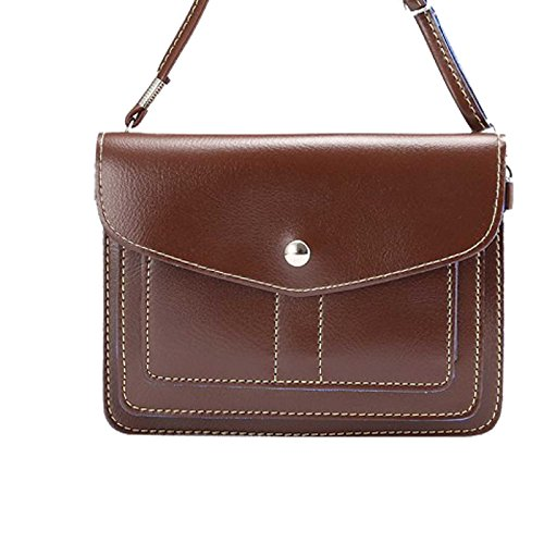 (Dteck(TM) Universal Cube Pattern PU Leather Cross-Body Pouch/Purse[Shoulder Strap ][Card Slots]for Apple iPhone 6/6Plus,Samsung Galaxy S6/S6 Edge and other Phones Under 6.3 inches (3 Horizontal Brown))