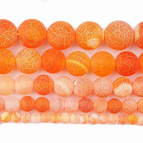 Calvas 4-12mm Round Orange Crackle Dream Fire Dragon Veins Carnelian Agates Stone Beads for Jewelry Making Beads 15'' DIY Beads - (Item Diameter: 8mm)