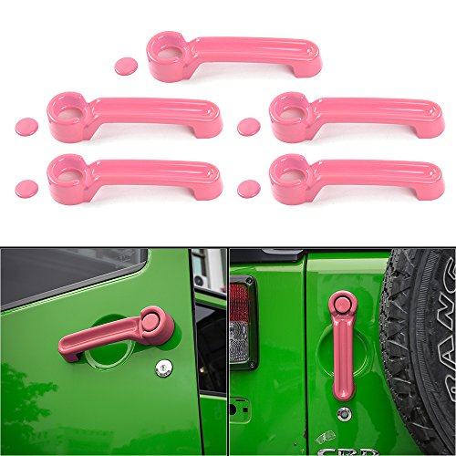 JeCar 5×5 ABS Door Handle Inserts Cover Kit & Tailgate Handle Cover 4 Door for 2007-2017 Jeep Wrangler JK Rubicon Sahara X Sport Accessories Parts(Pink)