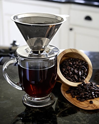 Willow & Everett Pour Over Coffee Maker -- Reusable Permanent Drip Coffee Maker -- Clever Innovative Coffee Dripper Design for Ease of Use