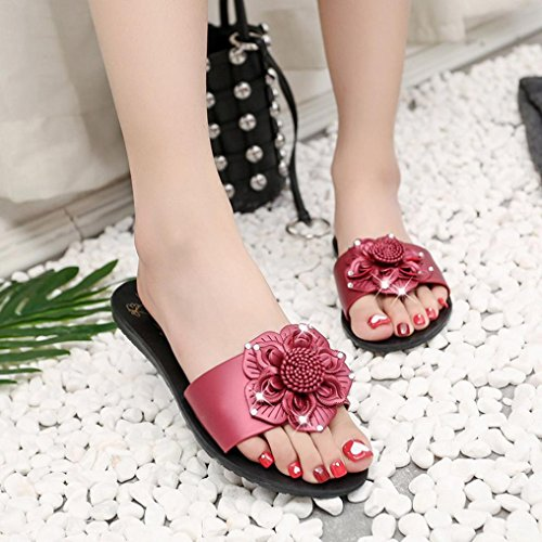 Baomabao Women Beach Slippers Summer Flower Flat Flip Flops Bohemian Sandals Wine GEDRxj02