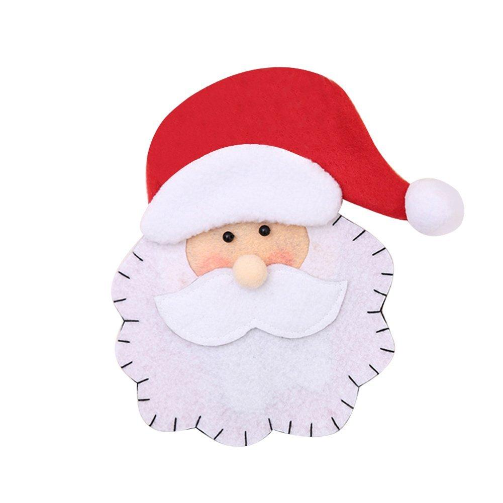 wintefei Useful Daily Home Tools Lovely Santa Claus Tableware Holder Silverware Pocket Cutlery Bag