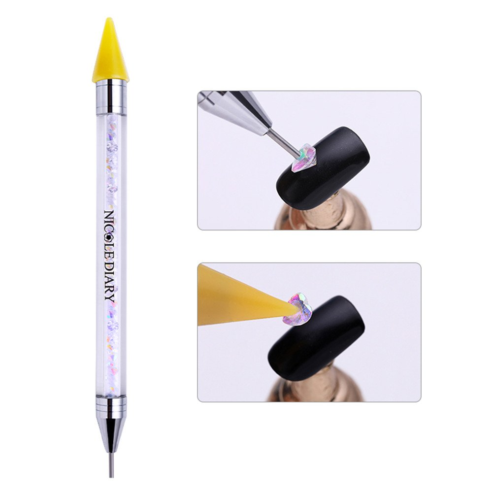 Amazon.com : NICOLE DIARY Wax Nail Rhinestones Gems Picker Pen Dual-ended Nail Studs Dotting Pen Crystal Diamond Acrylic Handle Nail Jewels Pick Up ...