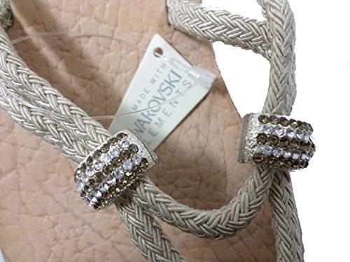 EDDY DANIELE 37 EU Sandalias Chanclas Mujer Beige Cuerda / Cristales Swarovski AW249