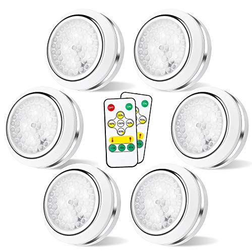 Led Puck Lights with Remote, Wireless Under Cabinet Lighting, Led Closet Lights, Battery Powered Lights, Battery Powered Touch Night Lights(6 Packs)