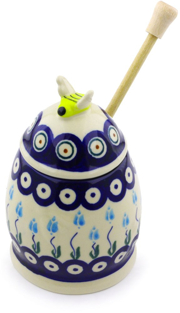 Polish Pottery Honey Jar with Dipper 5-inch (Floral Peacock Theme)