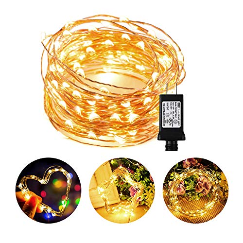 Chalpr LED String Lights, 33ft/10M 100 LEDs Starry Fairy Warm White Lights Indoor and Outdoor Waterproof Copper Wire Decorative Fairy Lights for Bedroom,Garden,Patio,Parties,Wedding Valentines Day