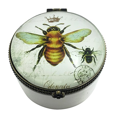 Value Arts Imperial French Honey Bee Trinket Box, Ceramic and Glass, 2.5 Inches Diameter
