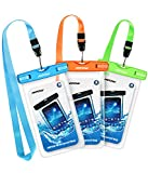 Mpow Waterproof Case, New Type PVC Waterproof Phone Case, Universal Dry Bag for iPhone8/8 Plus/7/7 Plus/ Galaxy/ Google Pixel/ LG/ HTC (3-Pack Blue Orange Green)