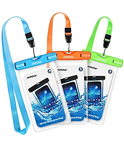 Mpow Waterproof Case, New Type PVC Waterproof Phone Pouch, Universal Dry Bag for iPhone 7/7 Plus, Galaxy /Google Pixel/LG/HTC (3-Pack Blue, Orange, (Motorola X Clear Cover)