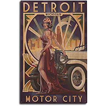 Lantern Press Detroit, Michigan - Deco Woman and Car (10x15 Wood Wall Sign, Wall Decor Ready to Hang)