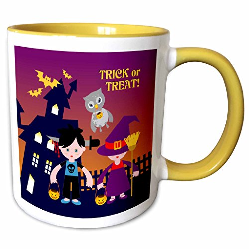 3dRose Belinha Fernandes - Halloween Celebration - Trick or treat message with owl and kids dressed up in halloween costumes - 11oz Two-Tone Yellow Mug (mug_125914_8) (Owl Dressed Up For Halloween)