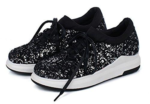 Paillettes Sport Aisun Brillant Noir Femme Baskets De Chaussures qw7ZfF7E
