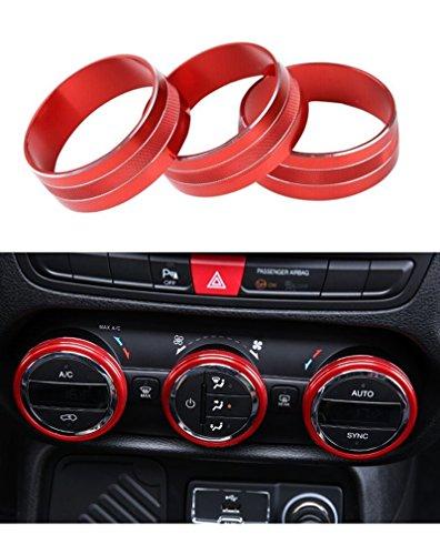 E-cowlboy Interior Audio Air Conditioning Button Cover Decoration Twist Switch Ring Trim for Jeep Wrangler JK JKU Compass Patriot 2011-2016 3PC/SET (Red)