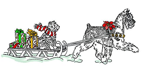 (10 Pack) Miniature Schnauzer Christmas Card Santa's Helpers (Inside Reads: Merry Christmas!)