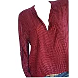 Women Plus Size Dots Henley Shirt V-Neck Roll-up Long Sleeve Top Loose Blouse(Wine,Small)