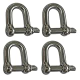 """Set of 4 Captive Pin Chain D Rigging Shackle 5/16"""" –Stainless Steel Dee Type- Qty=4 (BC 0417)"""
