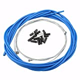 Durable Mountain Bike Brake Cable Bicycle Replaceable Wire for Both Front Brake & Rear Brake With Housing Set, Ferrules ( Color : Blue )